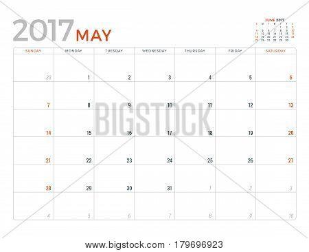 2017 Calendar Planner Vector Design Template. May. Week Starts Sunday