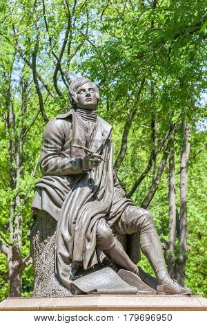 New York USA- May 20 2014. Memorial Scottish poet Robert Burns statue in Central Park New York City USA.