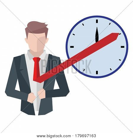 Successful businessman, business situations concept. Working in office, desire to succeed, teamwork and management. Flat vector cartoon illustration isolated on white background.
