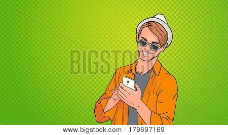 Young Man Using Cell Smart Phone Networking Online Over Pop Art Colorful Retro Style Background Vector Illustration
