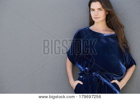 Amazing Blue fashion brunette looking at camera