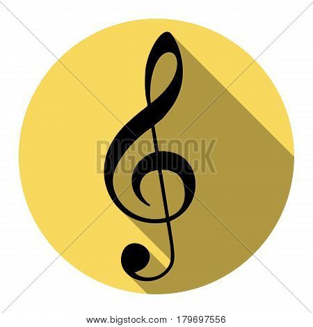 Music violin clef sign. G-clef. Treble clef. Vector. Flat black icon with flat shadow on royal yellow circle with white background. Isolated.