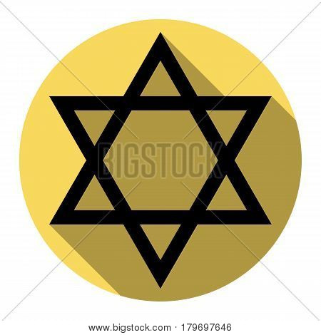 Shield Magen David Star. Symbol of Israel. Vector. Flat black icon with flat shadow on royal yellow circle with white background. Isolated.
