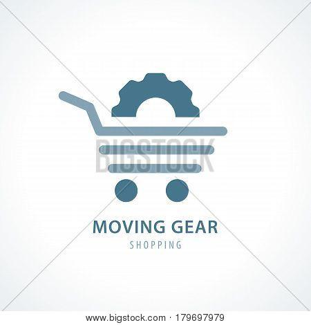 Moving Gear shopping symbol icon design. Vector illustration Logo template design.