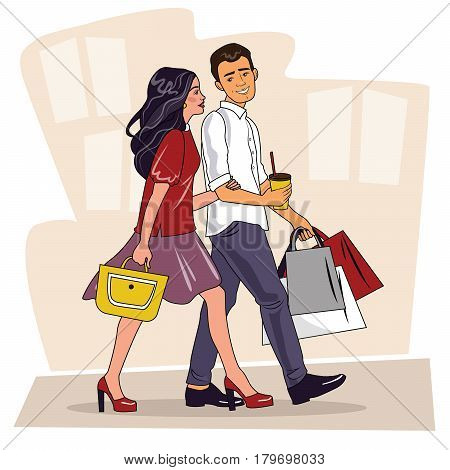 Happy family couple with shopping. Beautiful Man and woman with shopping bags walking on street. Big Sale. Shopping couple. Vector illustration of a flat design