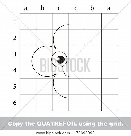 Finish the simmetry picture using grid sells, vector kid educational game for preschool kids, the drawing tutorial with easy gaming level for half of geometric shape Funny Quatrefoil
