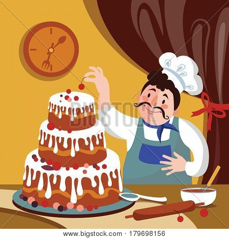Chef is Making Cake in the Furnace. Cartoon baker with a big cake. Fat cartoon chef. Vector illustration