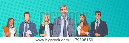 Successful Business Man And Woman Over Pop Art Colorful Retro Style Background Businesspeople Team Vector Illustration