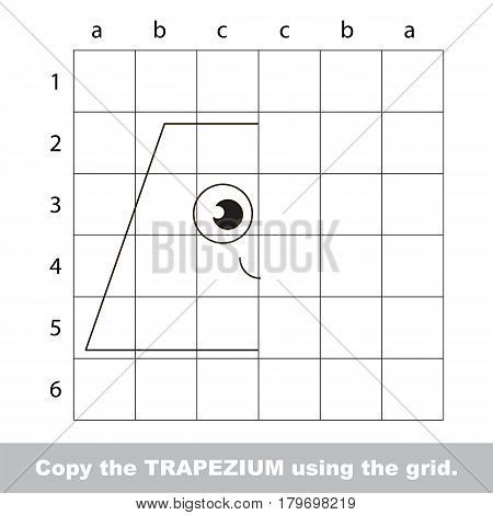 Finish the simmetry picture using grid sells, vector kid educational game for preschool kids, the drawing tutorial with easy gaming level for half of geometric shape Funny Trapezium.