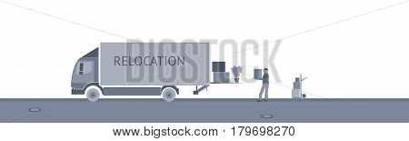 Relocation. Truck with carrier and cardboard boxes. Grey shade.