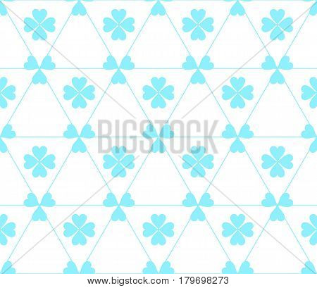 Seamless colored pattern. Print of blue color clovers four and three leaves and lines of triangles on white background.