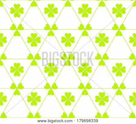 Seamless colored pattern. Print of light green color clovers four and three leaves and lines of triangles on white background.
