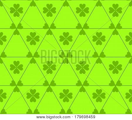 Seamless colored pattern. Print of green color clovers four and three leaves and lines of triangles on light green background.