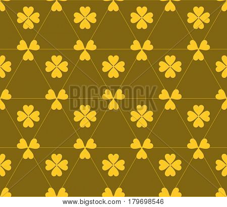 Seamless colored pattern. Print of yellow clovers four and three leaves and lines of triangles on brown color background.
