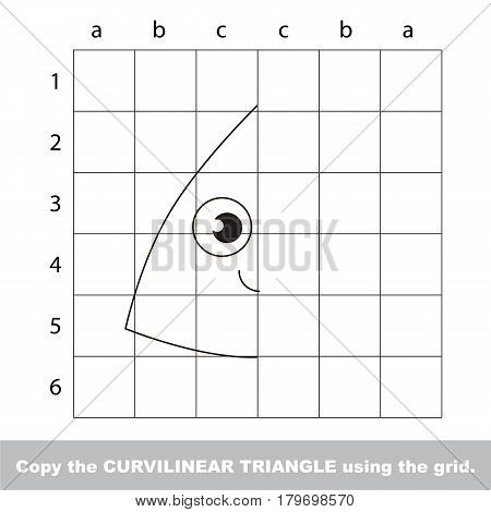 Finish the simmetry picture using grid sells, vector kid educational game for preschool kids, the drawing tutorial with easy gaming level for half of geometric shape Funny Curvilinear Triangle