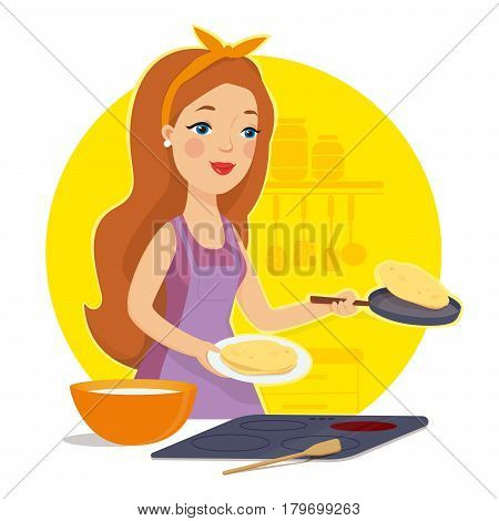 Woman cooking in the kitchen. Housewife in the kitchen. Mother cooking pancakes. I love to cook. Vector illustration.