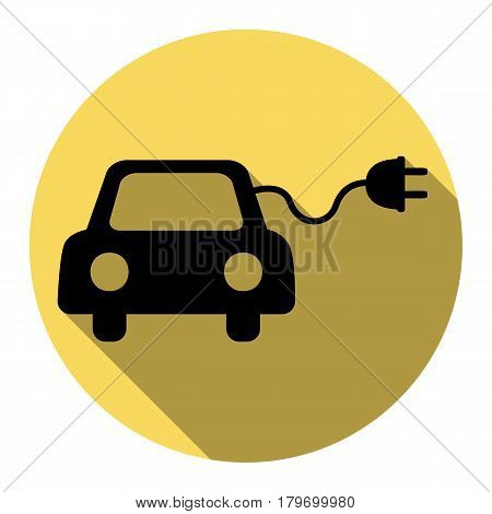 Eco electric car sign. Vector. Flat black icon with flat shadow on royal yellow circle with white background. Isolated.