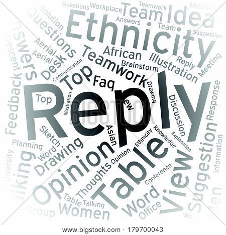 Reply , Word cloud art background ,