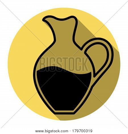 Amphora sign. Vector. Flat black icon with flat shadow on royal yellow circle with white background. Isolated.