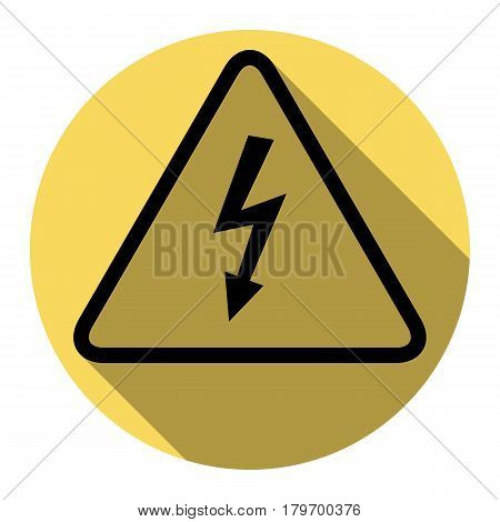 High voltage danger sign. Vector. Flat black icon with flat shadow on royal yellow circle with white background. Isolated.