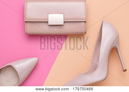 Fashion Design Woman Accessories Set. Pastel Colors.Cosmetic Makeup.Trendy fashion Handbag Clutch clothes. Glamor fashion shoes Heels. Luxury Summer lady. Creative Urban. Art. Minimal.