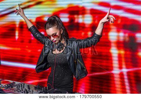 Young dj in nightclub