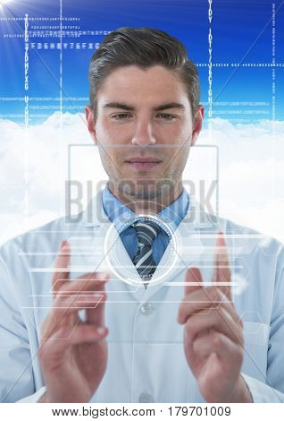 Digital composite of Man in lab coat holding up glass device with white interface against blue sky with cloud