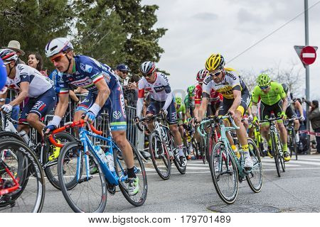 Barcelona Spain - March27 2016: The peloton riding during Volta Ciclista a Catalunya on the top of Montjuic in Bracelona Spain on March 27 2016.