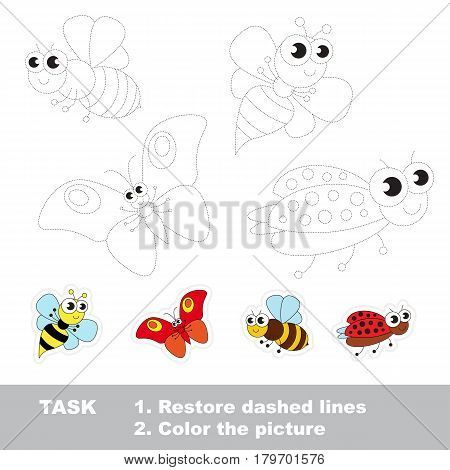 Cute Flying Insects, wasp and bee, butterfly and ladybird. Dot to dot educational game for kids, insect set to be traced.