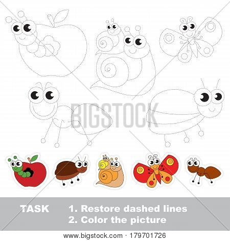 Cute insects set, the pest apple worm and bug, the snail and her baby, the butterfly and ant. Dot to dot educational game for kids, insect set to be traced.