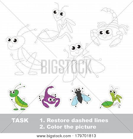 The Grasshopper and mantis, the scorpion and fly. Dot to dot educational game for kids, insect set to be traced.