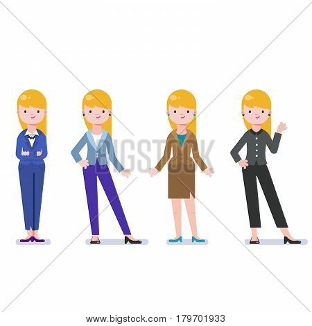 Set of business woman isolated on white. Collection of women, dressed in business style. Business lady smile. Formal suit, different poses of woman. Business dress code. Vector cartoon style.
