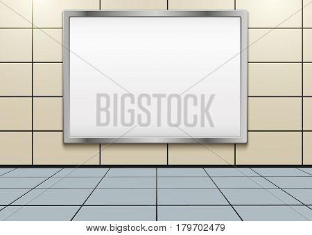 Empty mockup billboard inside metro or subway. Industrial Illustration