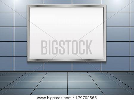 Empty mock-up big billboard inside metro or subway. Industrial Illustration