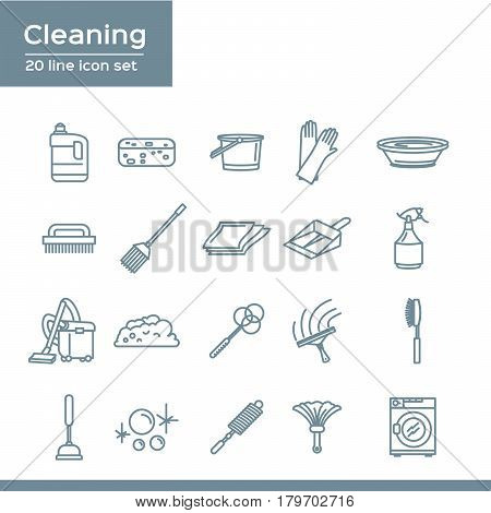 Simple Set of Cleaning Related Vector Line Icons. 20 line icon set
