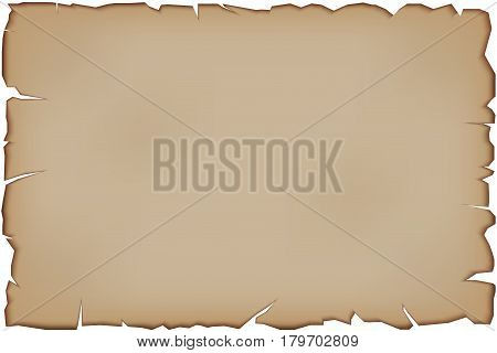 Old Paper Scroll with tattered edges. Retro illustration Isolated on white background.