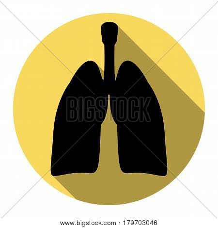 Human organs Lungs sign. Vector. Flat black icon with flat shadow on royal yellow circle with white background. Isolated.