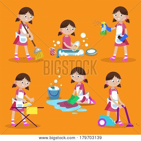 Cleaning vector illustration. House cleaning. Girl is busy at home: wash dishes, wash the floor, iron, vacuum, sweep, wash window. Funny cartoon character.