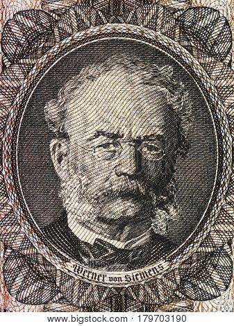 Werner von Siemens portrait from old German money