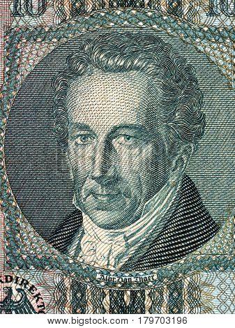 Albrecht Thaer portrait from old German money