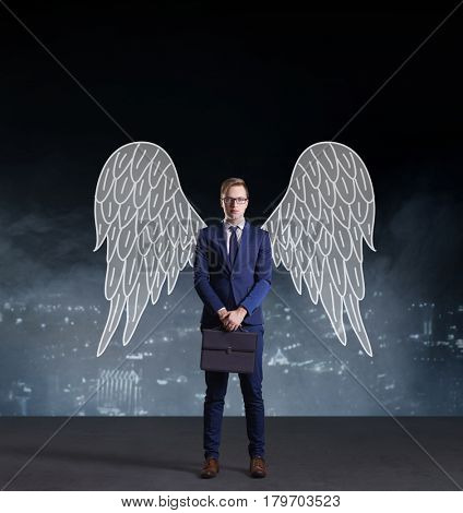 Business angel standing on night city background. Business, sponsoring, investment, concept.