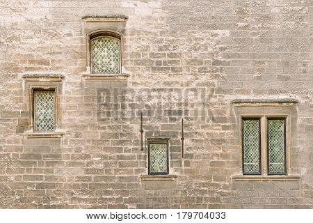 Detail of Papal Palace facade in historic Avignon, Provence, France