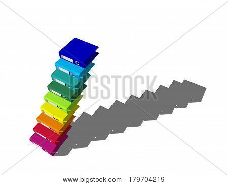 Empty colorful file folders.Isolated on white background. Stairway from file folders. 3D rendering illustration.