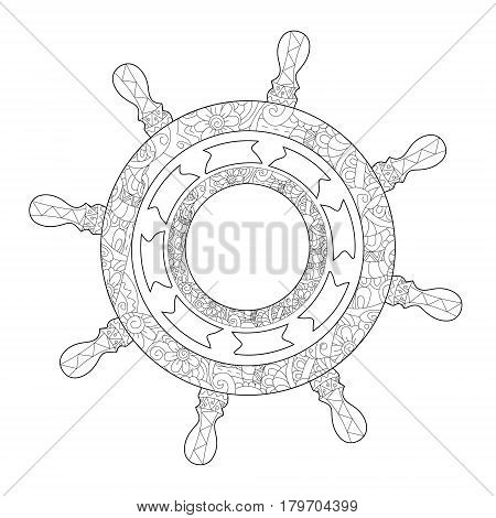 Pirate ship steering wheel coloring book for adults vector illustration. Anti-stress coloring for adult. Zentangle style. Black and white lines. Lace pattern