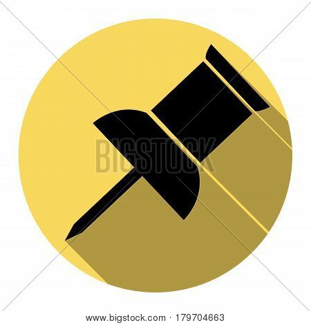 Pin push sign. Vector. Flat black icon with flat shadow on royal yellow circle with white background. Isolated.