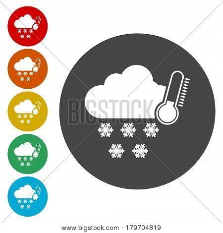 Simple Weather symbols icon on white background