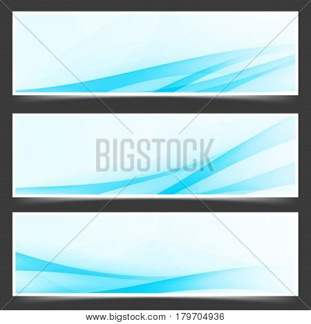 Blue unique abstract wave swoosh header collection templates with halftone dynamic lines. Vector illustration