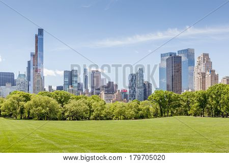New York USA- May 20 2014. Manhattan skyline view from Central park in New York.