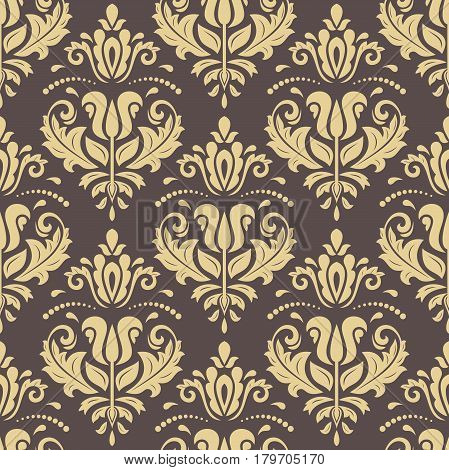 Damask vector classic brown and golden pattern. Seamless abstract background with repeating elements. Orient background