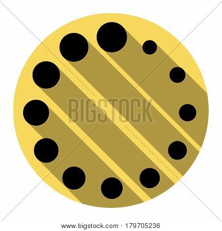 Circular loading sign. Vector. Flat black icon with flat shadow on royal yellow circle with white background. Isolated.